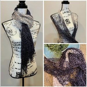 Open Weave Lace Shimmer Accent Scarf Wrap Shawl